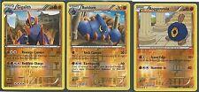 3 EVO Pokemon B&W DRAGONS EXALTED GIGALITH+BOLDORE+ROGGENROLA ALL REV HOLO MINT