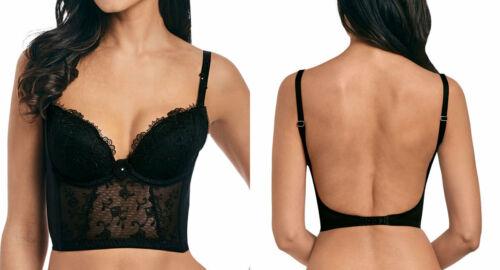 Wacoal Bustier Bra Opulence Size S 10 Black Lace Padded Longline 133008 New