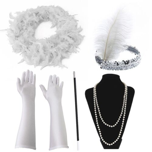 1920/'s Womens Flapper Charleston Accessory 5 Pack Set Gatsby Fancy Dress