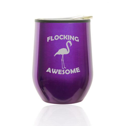 Stemless Wine Tumbler Coffee Travel Mug Cup Lid Flocking Awesome Flamingo Funny