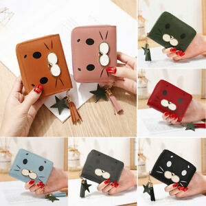 Girls Womens Small PU Leather Short Wallet Cards Holder Coins Purse Lady Handbag