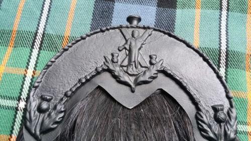 ORIGINAL BLACK HORSE HAIR SPORRAN ST ANDREW CANTLE//BAGPIPE PIPER KILT SPORRANS