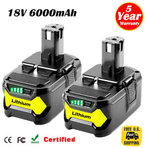 2XFor-Ryobi-P108-18V-6-0Ah-Lithium-Ion-Battery-Pack-Replaces-P122-P105-P103-P102