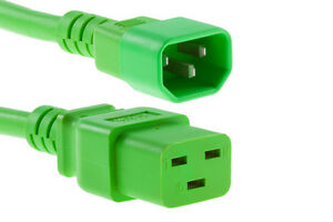 Lot-5-Nexhi-C14-C19-14AWG-SJT-15A-250V-08FT-Green-Pack-of-5