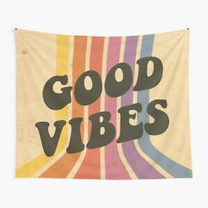Good Vibes Wall Tapestry Good Vibes 80s For Living Room Bedroom Decor Tapestry Ebay