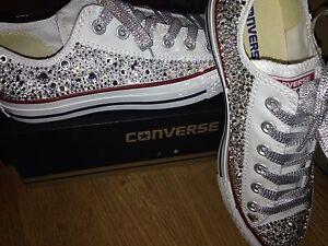 SWAROVSKI Crystal personalizzati All Star Converse Bianco Adulti Da Donna Basso