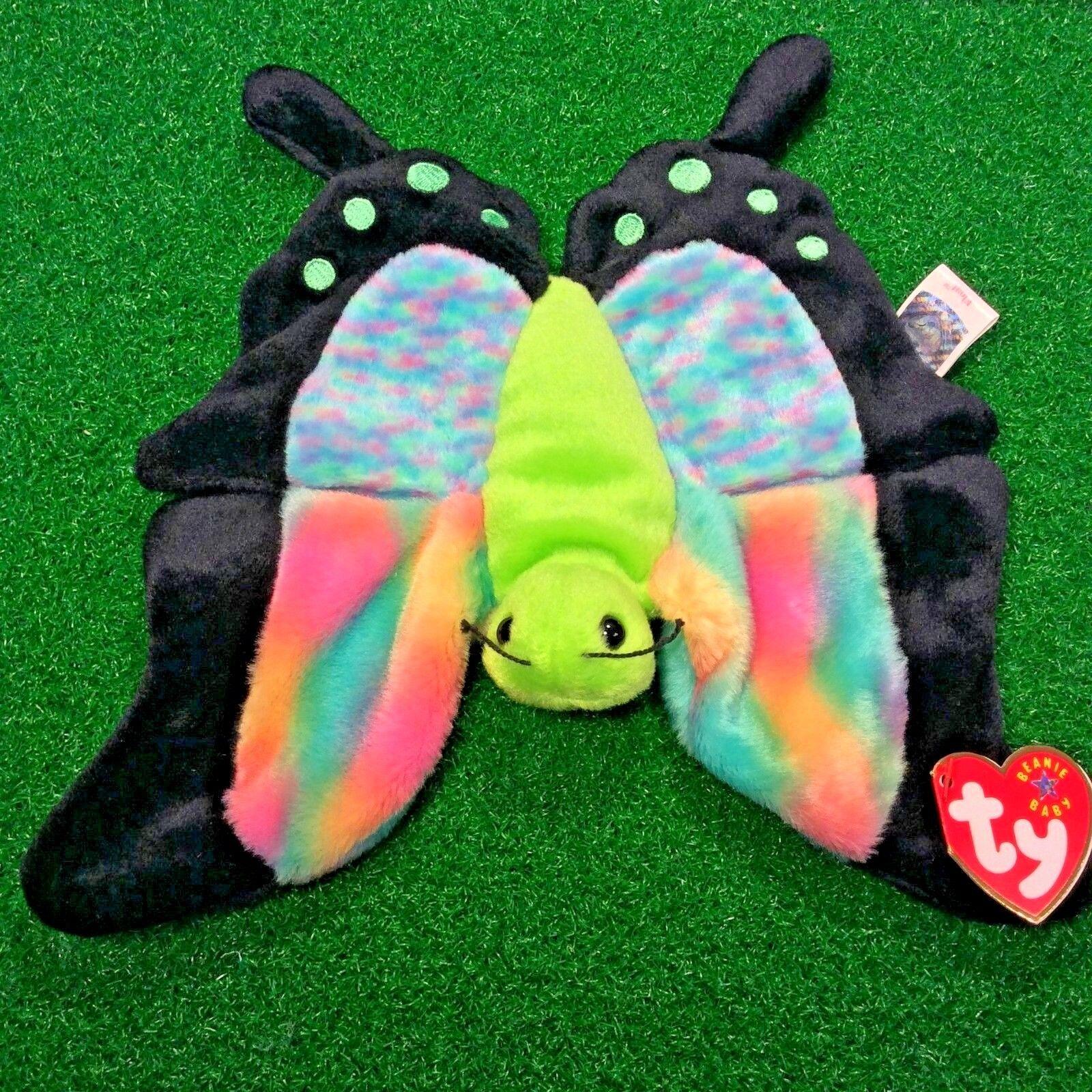 NYA begränsad Ty Beanie bebis 2000 Float The Butterflygaga MWMT Pensionerad Plush leksak
