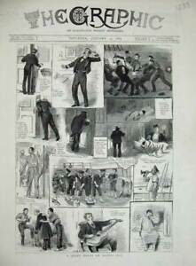 Original-Old-Antique-Print-1884-War-Ship-Sailors-Navy-Washing-Deck-Music-Guitar