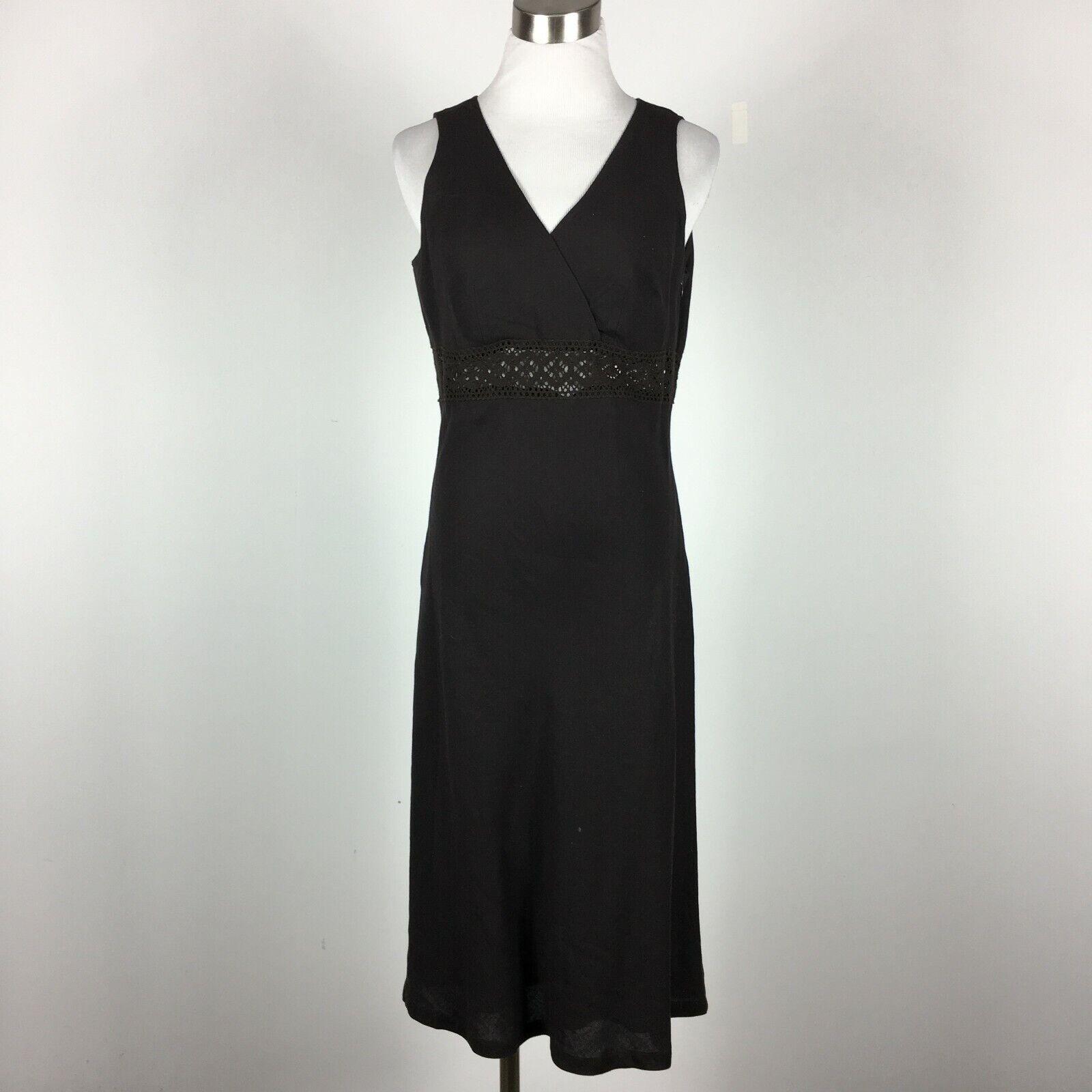 New York & Co Size 6 Empire Dress Brown Cross V L:inen Blend Sleeveless 90s