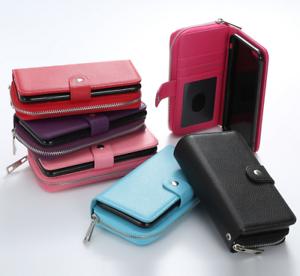 Pour-Apple-10-IPHONE-X-Zip-Portefeuille-Porte-Monnaie-Clapet-Cuir-Magnetique-Cas