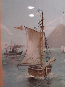 ANTIQUE-AMERICAN-FLAG-FOLK-ART-PAINTING-1884-CHICAGO-SCHOONER-LIGHTHOUSE-FISH