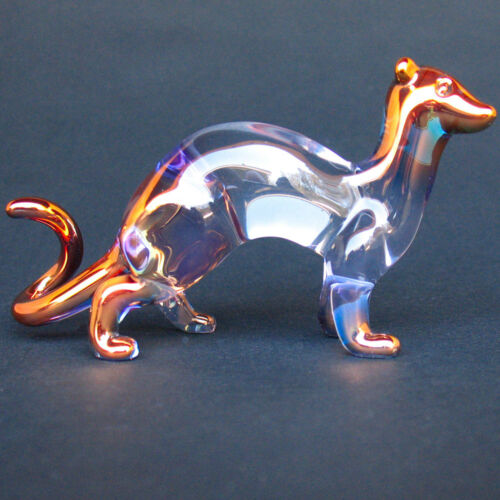 Ferret Figurine of Hand Blown Glass with 24K Gold