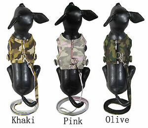 Camo denim doggy harness with leads comes in khaki, olive, pink Sizes XXS to XXL