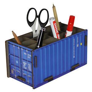 Stiftebox Stiftebecher Container 20ft., blau, MDF-Steckbausatz, Werkhaus Design