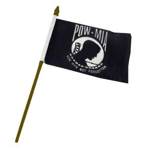 """Wholesale Lot of 6 POWMIA POW MIA Gold Staff 4/""""x6/"""" Desk Table Stick Flag"""