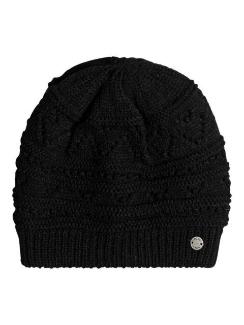 d4ad860c39439 ROXY WOMENS HAT.GIRL CHALLENGE BLACK KNITTED SKULLIE FITTED BEANIE 7W 308  KVJO
