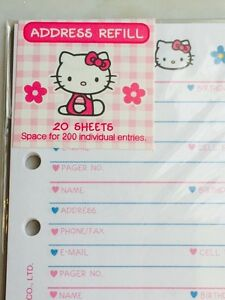 hello kitty address phone book refill pages stationery rare fits