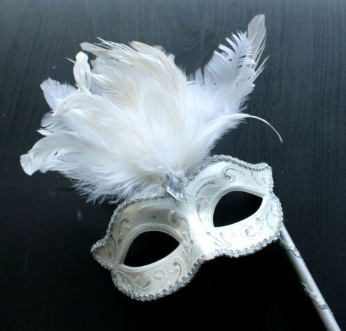 SILVER AND WINTER WHITE VENETIAN MASQUERADE PARTY MASK ON A HAND HELD STICK