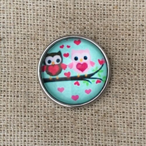 Noosa style chunk snap for leather bracelet Little owls-mint green