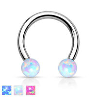 Simulated Opal Surgical Steel Circular Barbell Septum Ring Horseshoe Piercing