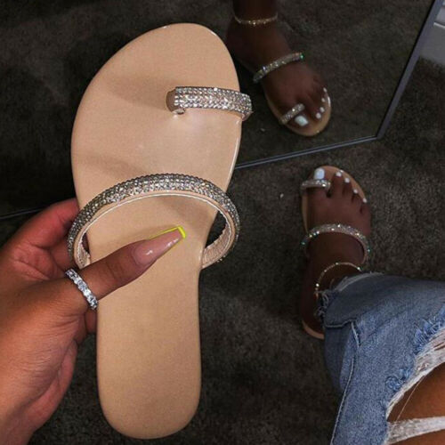 Womens Flat Rhinestones Diamante Summer Sliders Slippers Ladies Sandals Shoes US