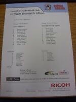 31/07/2010 Colour Teamsheet:  Coventry City v West Bromwich Albion [Friendly] .