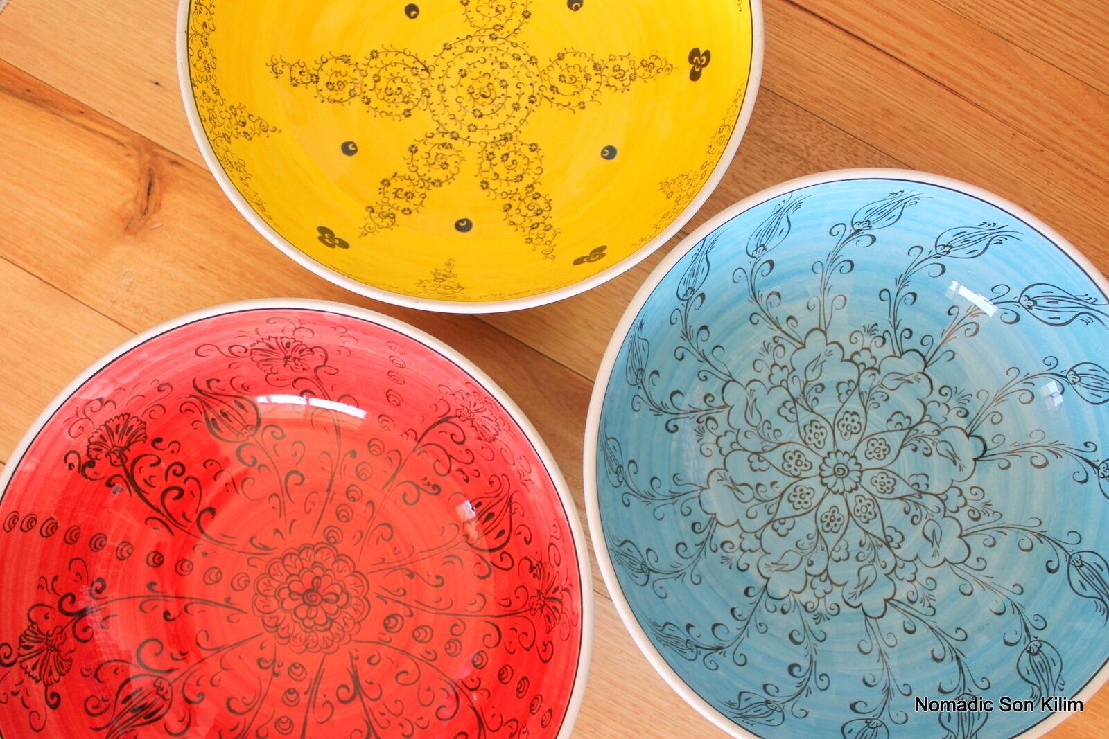 Turkish ceramic bowls (30cm) handmade - handpainted, food safe - COLOURFUL