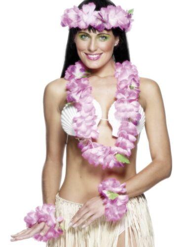 Hawaiian Luau Set Pink Adult Womens Smiffys Fancy Dress Costume Accessory