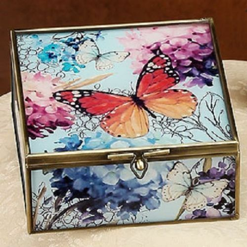 Glass Square Necklace Bracelet Jewelry Box Red Butterfly Metal Frame