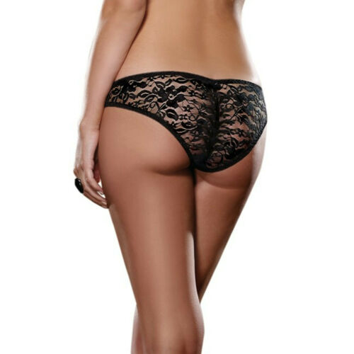BNWT DREAMGIRL Stretch Dentelle Cheeky Hipster Panty Avec Froncé Dos.