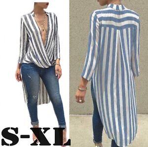 2016-Womens-Cotton-Irregular-Long-Dress-V-Neck-Party-Club-Fashion-Striped-Robe