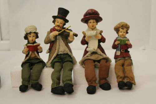 Décoration de Noël - 4 Noël shelf sitter Carol Singers W pendantes jambes famille