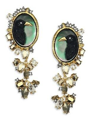 $395 New Alexis Bittar Elements Cameo Raven Bird Crow Clip On Earrings Sold Out