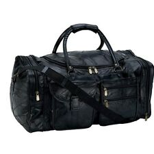 """Black Genuine Leather 25"""" Travel Tote Shoulder Duffle Bag Gym Overnight Carry On"""