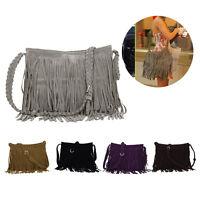 Women's Satchel Fringe Tassel  Messenger Cross Body Tote Handbag Shoulder Bag