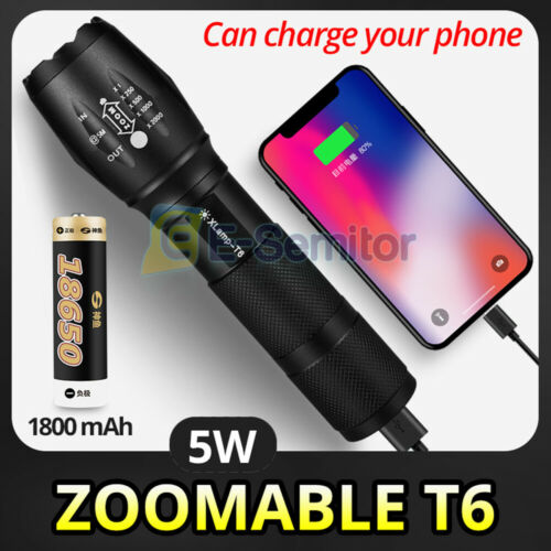 COB LED Torch USB Rechargeable Flashlight Police Tactical Outdoor Camping Lamp