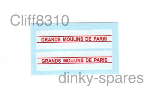 French Dinky 25JV FordGRANDS MOULINS DE PARISWaterslide Transfer