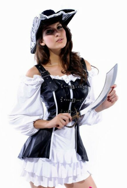 Womens Adult Sexy Pirate Costume Fancy Dress Outfit UK 8-10 #403