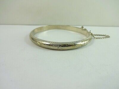 """Precious Metal Without Stones Fine Jewelry Sterling Silver Nice Etched Design Snap On Bracelet 6.75"""" 9.3 Gram"""
