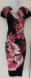 Womens Roman Black Pink Bold Floral Stretch Cap Sleeves Occasion Wiggle Dress 18