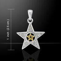 Pentacle Pendant .925 Sterling Silver Gold Vermeil Two Tone Pentagram Amulet