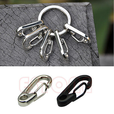 2pcs Stainless Steel Split Keychain Key Ring Clasps Clips Hook