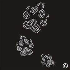 Animal Paw Print Rhinestone Diamante Transfer Iron On Hotfix T Shirt Motif Gem