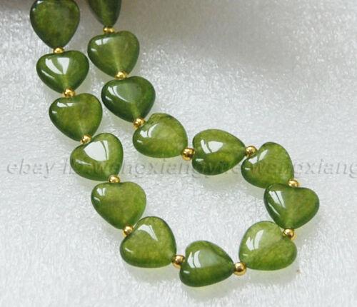 """Long 18/"""" 22/"""" 25/"""" 36/"""" 12 mm vert péridot pierres précieuses cœur perles pendentifs Collier"""