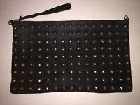 Topshop leather black suede statement silver spike embellished clutch bag