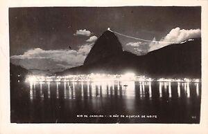 RIO-DE-JANEIRO-BRAZIL-O-PAO-de-ACUCAR-de-NOITE-REAL-PHOTO-POSTCARD-1930s
