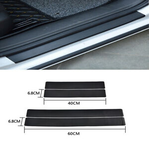 4pcs 3D Carbon Fiber Car Door Sill Scuff Plate Cover Anti Scratch Sticker Black