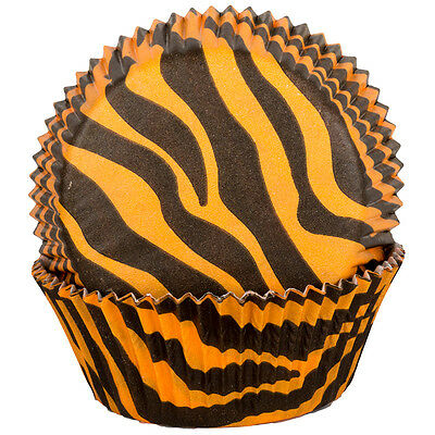 Orange Tiger Zebra Cupcake Cases x60 Baking Muffin Animal Wild