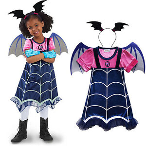Kids Girls Vampirina Dress Wing Headwear Party Fancy Dresses Cosplay Costume US