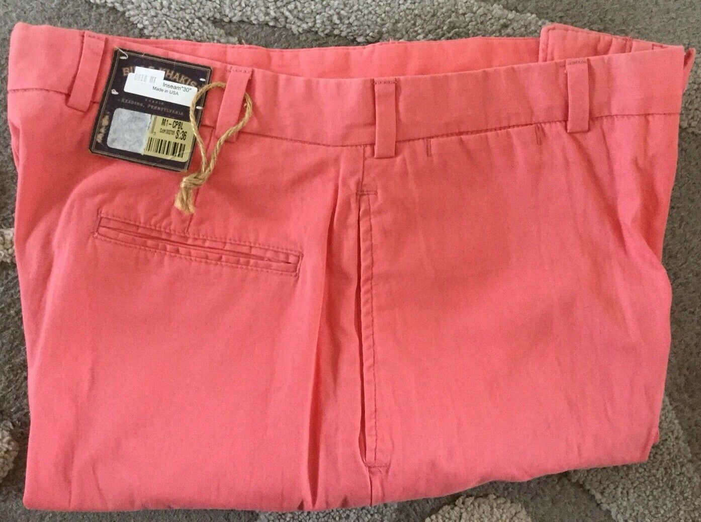 BRAND NEW-Bills khakis M1-CPBL Size 36X30 PLAIN RELAXED FIT POPLIN Coral